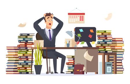 Uomo d'affari oberato di lavoro. Stressato direttore frustrato manager duro lavoro seduto ufficio tabella pila documenti documenti carattere vettoriale. Illustrazione dell'impiegato d'ufficio occupato e oberato di lavoro