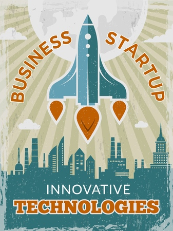 Rocket retro poster. Business startup concept with shuttle or spaceship vintage creative space 40s vector placard. Illustration of rocket and spaceship, shuttle startup launch