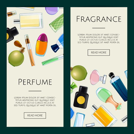 Vector perfume bottles web banner templates illustration. Advertising colored poster 矢量图像