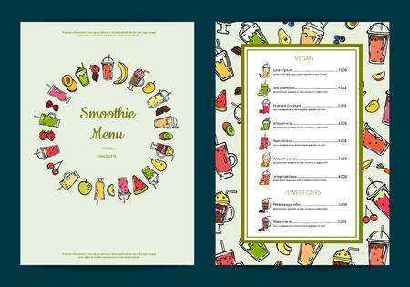 Vector doodle fresh fruits mix smoothie cafe or restaurant menu template illustration