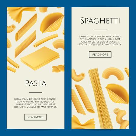 Vector realistic pasta types web banner and poster templates illustration Ilustração Vetorial