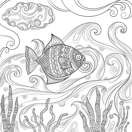 Ocean fish coloring. Fashion pictures of water sea or ocean animals vector drawings for adults books. Fish in sea, book coloring sketch illustration Ilustrace