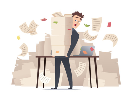 Workload businessman. Overwork office manager director sitting at table over much papers documents bureaucracy vector cartoon concept. Illustration of businessman workload and stress