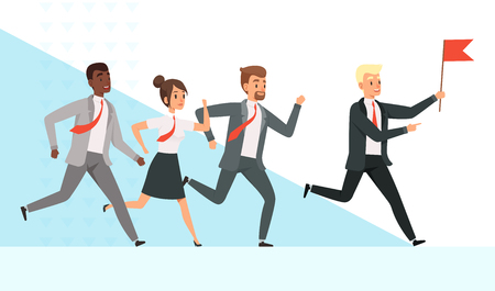 Business people running. Workers managers male female goes with their mentor leader director red flag hand leadership vector concept. Leader business with flag, leadership man manager illustration