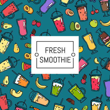 Vector doodle smoothie background and pattern illustration with white tag text