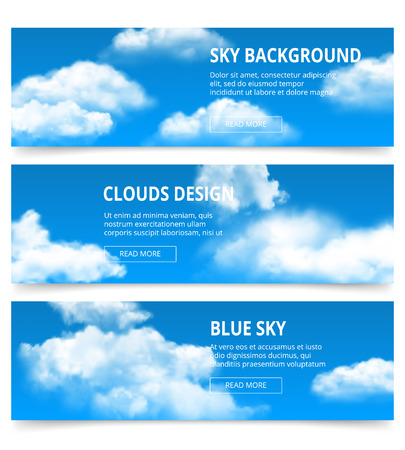 Cloudy sky banners. Realistic clouds weather condensation blue afternoon vector template with place for your text. Illustration of cloudscape fluffy web card collection