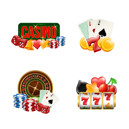 Vector piles of realistic casino gamble set illustration. Gambling and casino, poker game and luck