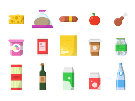 Food market. Grocery basket with products sausage milk fruit wine macaroni cheese vector flat pictures isolated. Food market, milk and meat, sausage and bread illustration