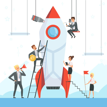 Startup concept. Business characters launch new project shuttle rocket symbols success startup freedom dream ship vector illustration. Business team startup, launch and development spaceship