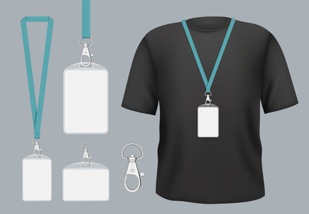 Badges mockup. Presentation tag access business badges with personal name or id vector template. Pass tag badge on lanyard, identity corporate and authentication registration member illustration Vecteurs