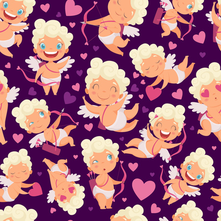 Angels seamless pattern. Love valentines day pink hearts cute angels with bow vector cartoon characters background. Illustration of valentine angel and amour character Ilustração