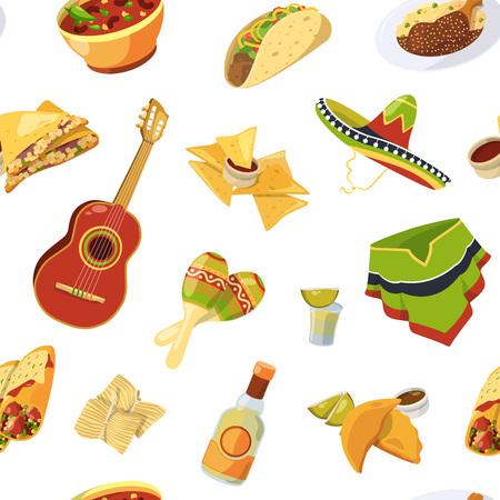 Vector cartoon mexican food pattern or background illustration. Background seamless mexican taco, maracas and tequila