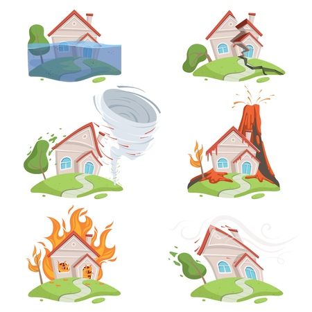Nature disaster. Mountain ice tsunami volcano lava water twister destruction vector cartoon scene. Destruction and disaster, lava of volcano and fire house illustration