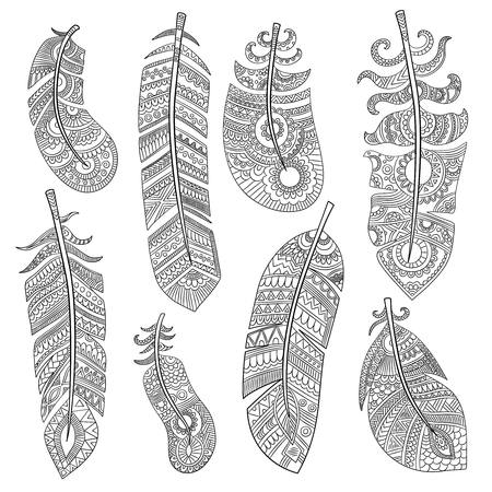 Tribal feathers. Grunge authentic texture of fashion indian feathers vector isolated pictures. Illustration of grunge tribal ornament, decoration lightness aztec feather