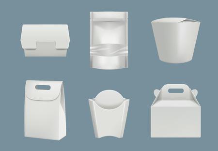 Lebensmittel verpackt. Leere Karton- und Plastikverpackung für Produkte mit schneller Lieferung, vektorrealistisches Modell. Abbildung von Paket und Packung für die Fast-Food-Lieferung Vektorgrafik