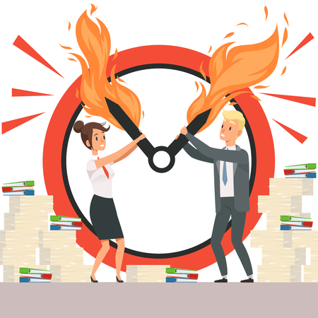 Business deadline people. Overload office managers cant stop clock arrows flame chronometer time management reminder vector characters. Office clock deadline, business time fire arrow illustration