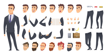Businessman constructor. Coworkers manager or business person people keyframes animation character vector creation kit. Businessman character, creation animation generator illustration