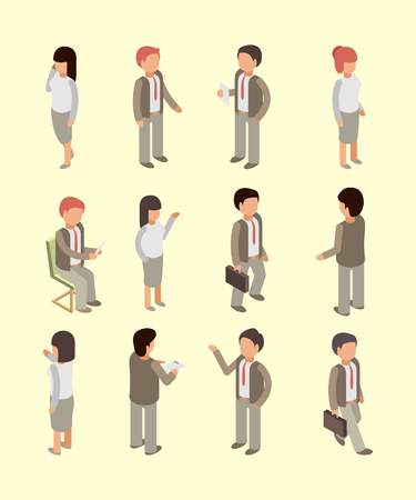 Business people isometric. Office workers managers directors and leader team professional service specialists vector 3d characters. Businessman office director, leader confident people illustration