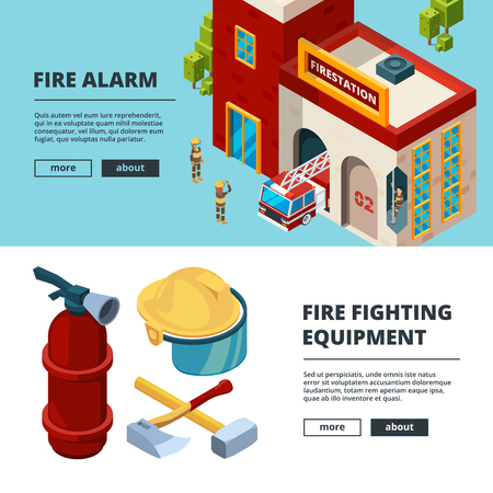 Firefighters banners. Proffesional items fire station wildfire flame uniform rescue man extinguisher vector isometric pictures cards. Illustration of firefighter emergency, fire department