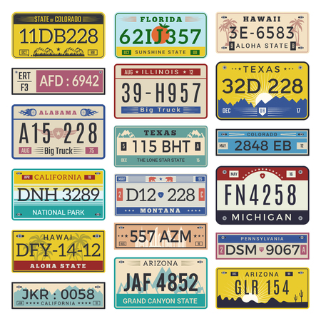 Car license plates. Automobile registration numbers vector template letters. Illustration of auto plate number, registration transport Stock Illustratie