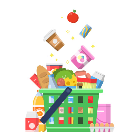 Grocery basket with food. Sausage milk fruit wine macaroni cheese delivery shopping vector concept. Illustration of basket with food meat and sausage, cheese and apple
