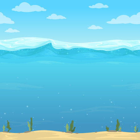 Sfondo di onde d'acqua. Superficie del fumetto del fiume del mare dell'oceano del modello liquido senza cuciture per il gioco di vettore 2d. Oceano di acqua di superficie, illustrazione dello spazio subacqueo del mare Vettoriali