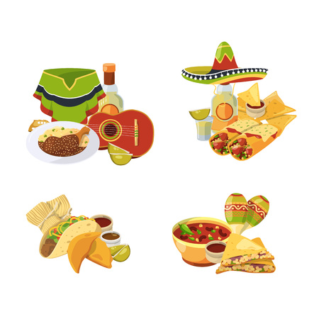 Vector cartoon mexican food piles set isolated on white background illustration. Mexican food and lunch, chili and spice traditional Vector Illustration