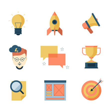 Seo smm business icons. Brainstorming communication campaigns marketing strategy vector symbols flat collection. Seo strategy brainstorming and solution illustration