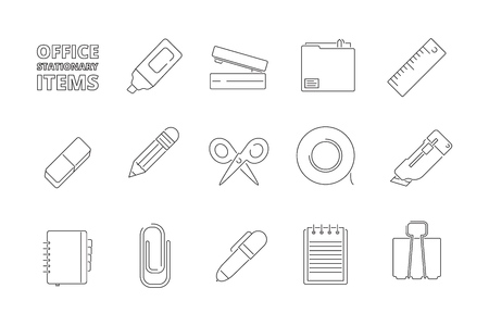 Office stationary items. Desk folder papers pencil pen stapler felt pen gadgets for managers help work vector thin line icons. Illustration of office stationary thin line, cutter instrument and folder