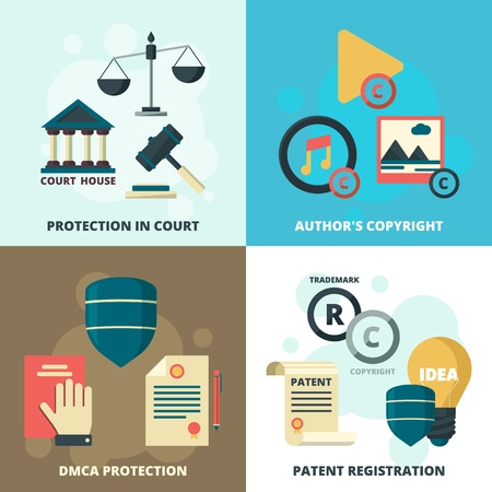 Copyright legal icon. Patient compliance quality regulations security company vector symbols collection. Author copyright, protection license, patent registration illustration  イラスト・ベクター素材