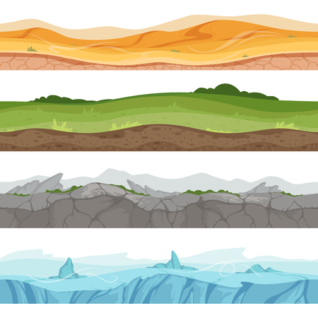 Seamless grounded surface. Parallax desert sand grass water ground vector environment for 2d cartoon games. Illustration of different place game, desert and rock, ice and green meadow Иллюстрация