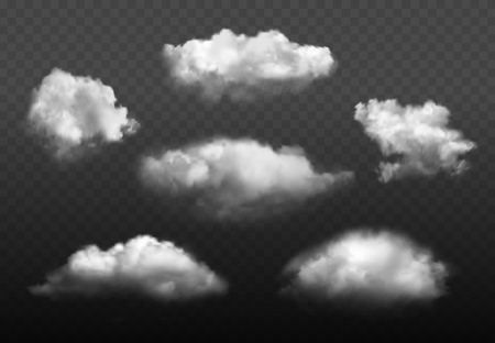 Wolken realistisch. Blauwe bewolkte hemel weer elementen vector afbeelding set. Bewolkte luchtomgeving, wolkenachtige sfeer rokerige illustratie