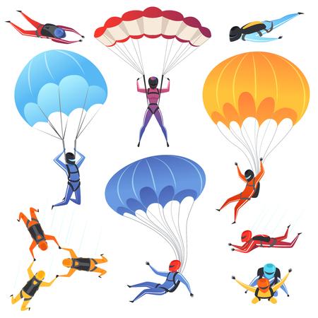 Deporte extremo en paracaídas. Personajes de adrenalina saltando parapente y paracaidismo vuelan aerodinámica vector imagen aislada. Paracaidista saltando, deporte de paracaidismo, ilustración de parapente