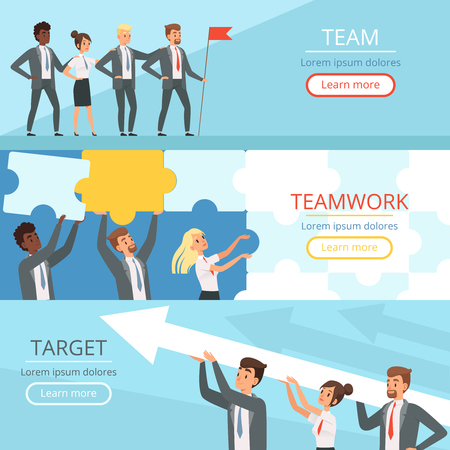 Business team banners. Managers partners collaboration at work to the big goal team building conceptual vector characters. Teamwork management, collaboration strategy and partnership illustration