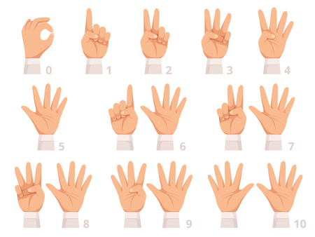 Hands gesture numbers. Human palm and fingers show different numbers vector cartoon illustration. Gesture human hand, gesturing different numbers Ilustração Vetorial