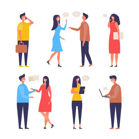Dialogue people. Communication characters web chat discuss businessman active discussion vector flat pictures. Illustration of conversation group people