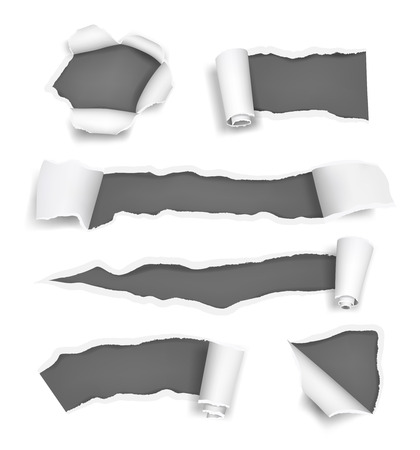 Paper holes ripped. Promoted rips torn pages cut edge of paper and notes vector realistic template. Illustration of ripped paper, hole torn in sheet Vecteurs
