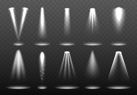 Luces blancas realistas. Proyección de reflector brillante Visualización del entorno de vector de etapa de relámpago brillante. Ilustración del rayo de efecto, haz brillante de reflector Ilustración de vector
