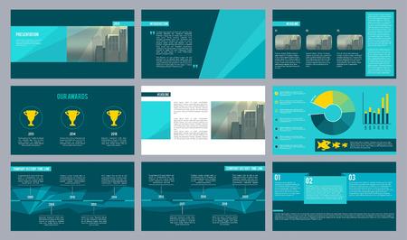 Plantilla de presentación de negocios. Páginas de revistas o presentaciones de diapositivas con formas geométricas abstractas y lugar para el diseño de vectores de texto. Ilustración de la empresa de presentación anual, cronograma y premio.