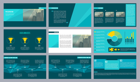 Business presentation template. Magazine pages or slideshow with abstract geometry shapes and place for text vector design. Illustration of annual presentation company, timeline and award