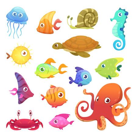 Animali subacquei. Oceano mare animali pesci polpo tartaruga cavalluccio marino caratteri vettoriali. Pesce marino e polpo di mare, illustrazione della fauna selvatica