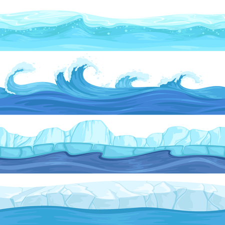 Seamless water waves. Liquid and ice surface ocean and river texture vector backgrounds for 2d platforming games. Sea water pattern wave, marine ice curve illustration