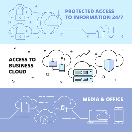 Cloud technology banners. Online software computer internet services safety ftp connection work laptop pc business vector concept. Illustration of software cloud, laptop and pc online networking