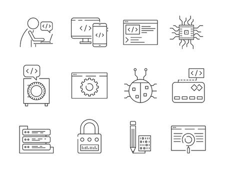 Programmer icon. Coder web dev worker bug fixes nodes qa system testing engineering vector thin line symbols. Illustration of programming and testing Ilustração