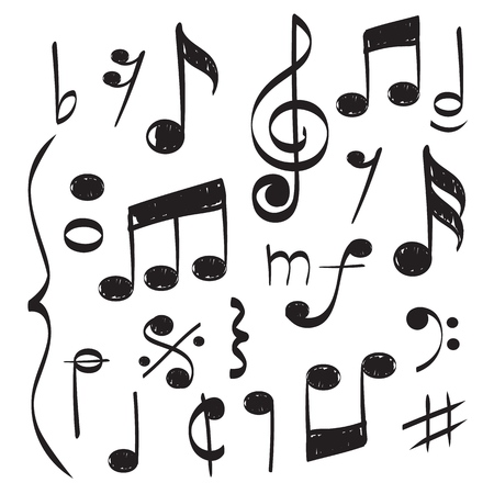 Notes music. Vector hand drawn muzician staff treble clef for song vector concept pictures. Illustration of musician note sound, musical drawn sketchy