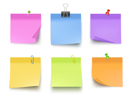 Notes colored. Sticky papers with pin clips memo bank business notes vector realistic template. Office paper memo, sticky note, pin messag illustration 向量圖像