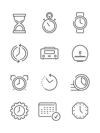 Time symbols. Calendar clock fast work time manageent thin linear icon vector collection. Illustration of time and calendar, clock hourglass and countdown Illustration