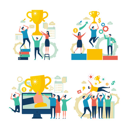 Successful business people. Working people managers rewards victory attainment estimates concept vector scenes business characters. Businessman successful worker, reward businesspeople illustration