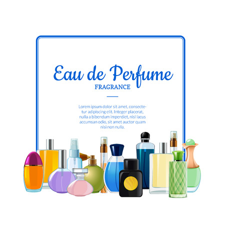 Vector piles of perfume bottles below frame with place for text illustration isolated on white background Vektorové ilustrace