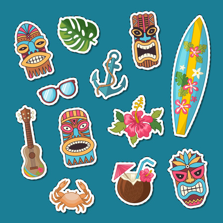 Vector colored cartoon summer travel elements stickers of set illustration